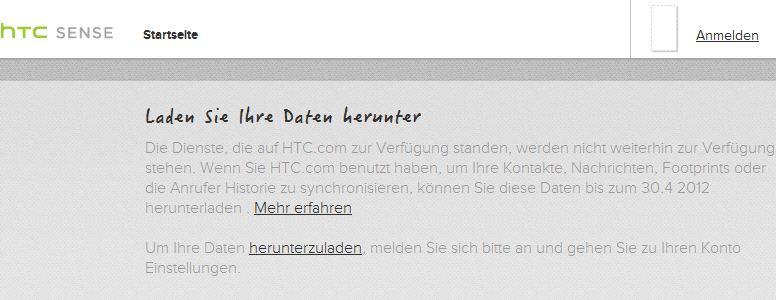 htcsense.com daten laden