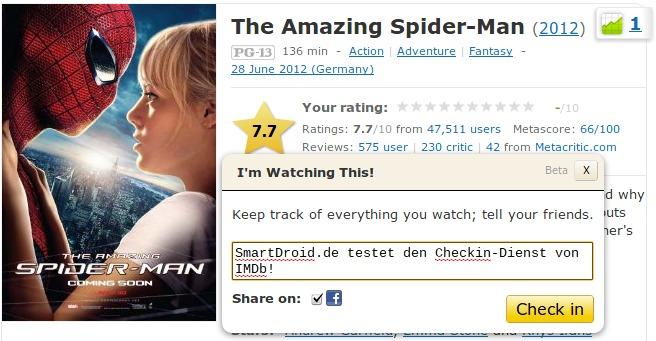 IMDb Checkin Webseite