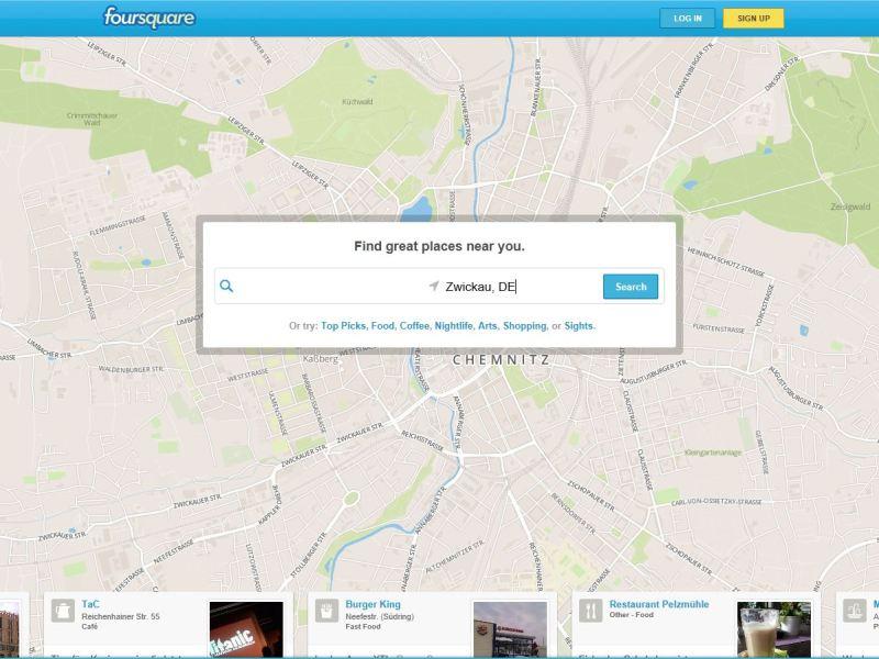 Foursquare im Browser