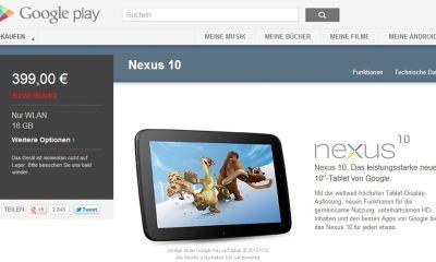 Nexus 10 16GB ausverkauft Screenshot