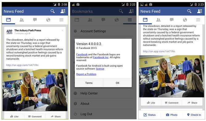 facebook 4.0 screenshots