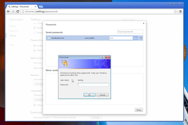 chrome passwortspeicher screenshot