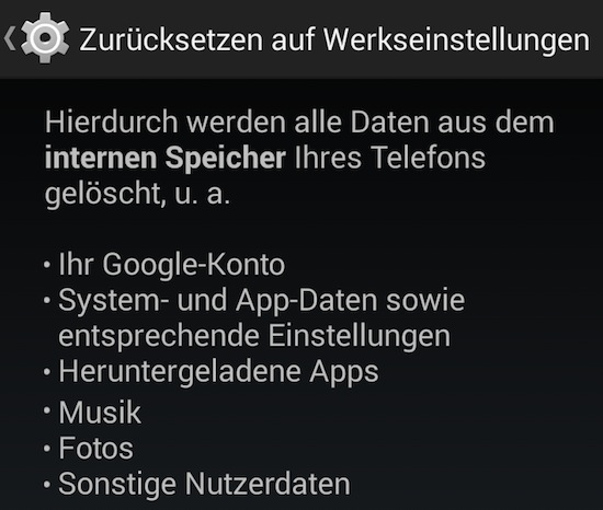 Werkseinstellungen Android Screenshot