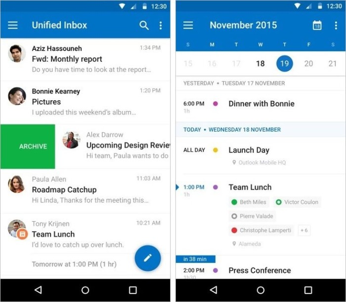outlook 2015 material design
