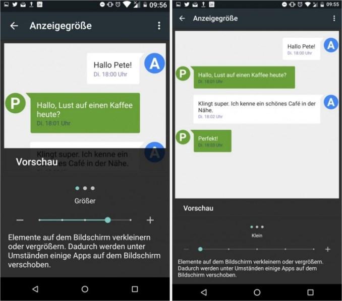 Android N Anzeigengröße