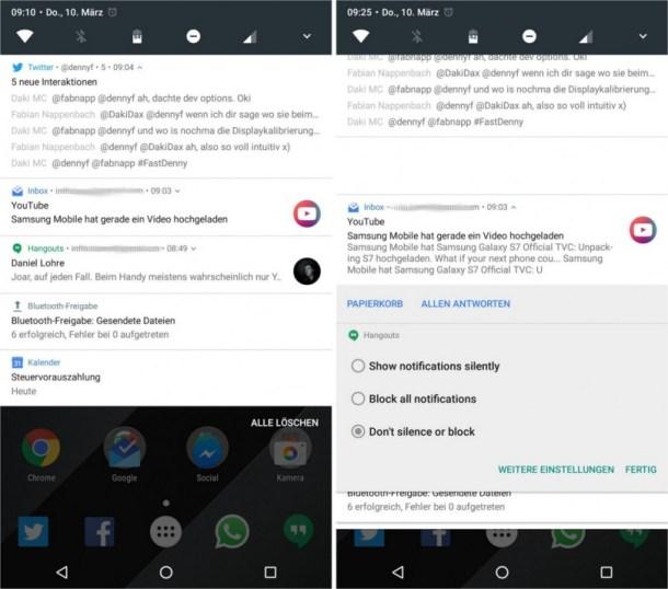 Android N Benachrichtigungen