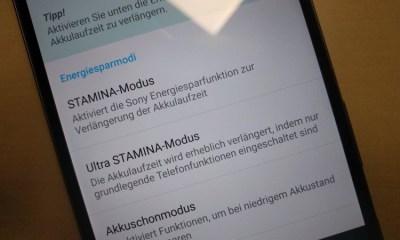 Sony Xperia STAMINA-Modus Screenshot