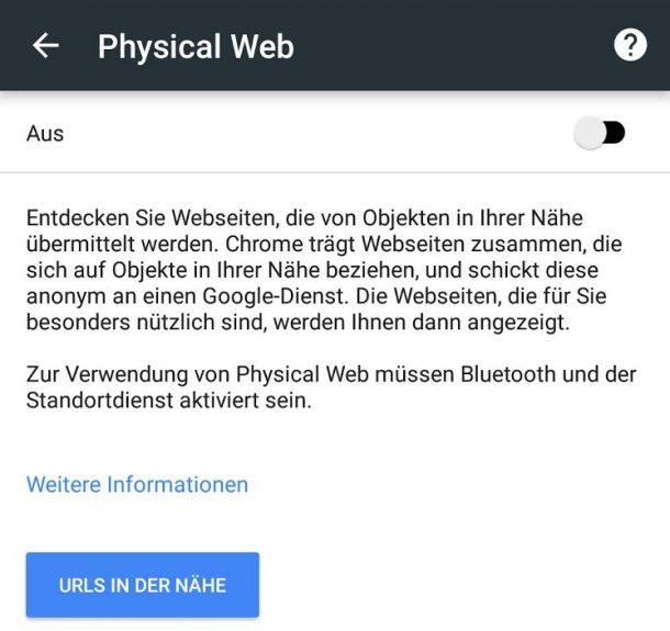 Chrome physisches Web Beacons