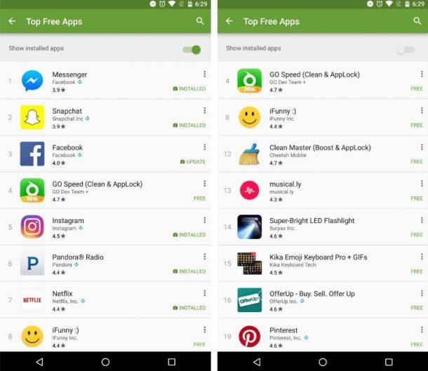 Play Store Schalter für installierte Apps