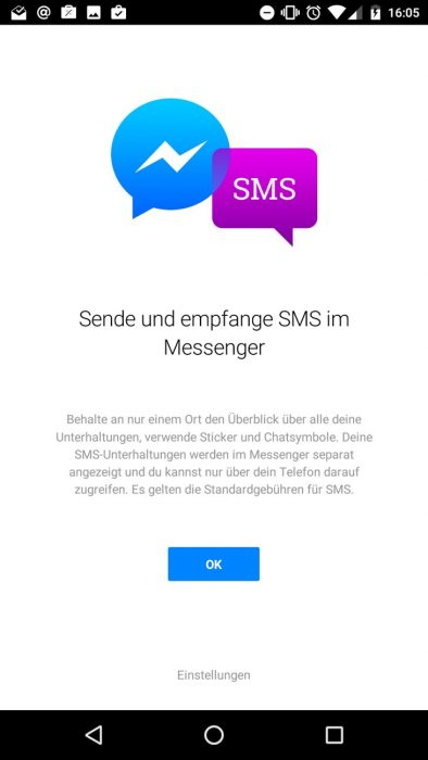 Facebook Messenger SMS Screenshot Android App