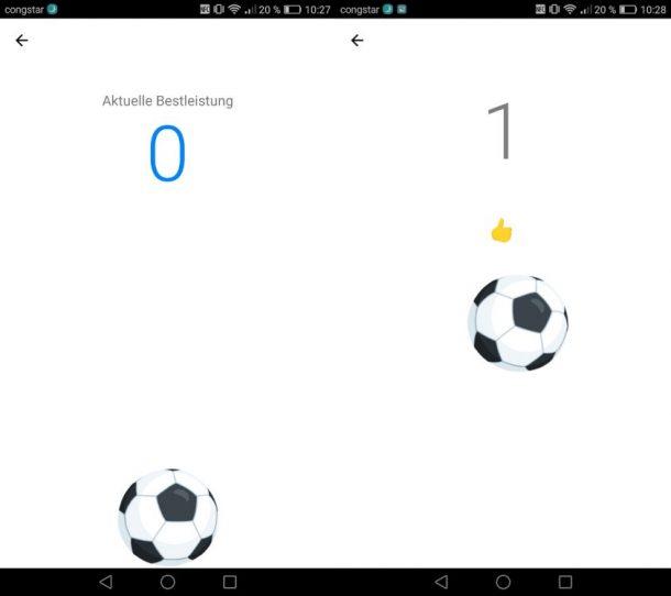 Facebook Messenger Fußballspiel