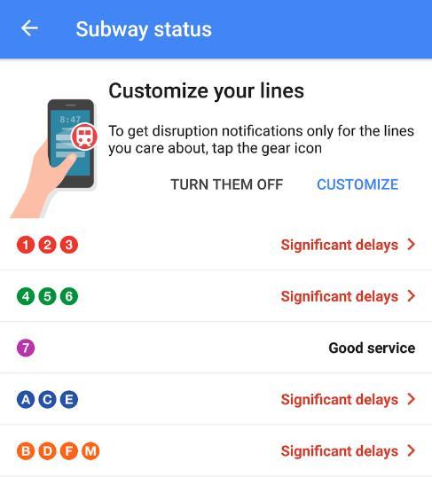 Google Maps Transit Benachrichtigungen