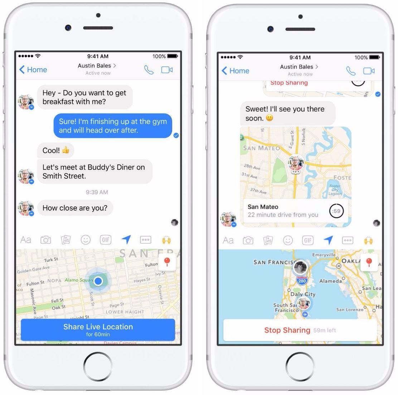 Facebook Messenger erlaubt Teilen des eigenen Live-Standorts
