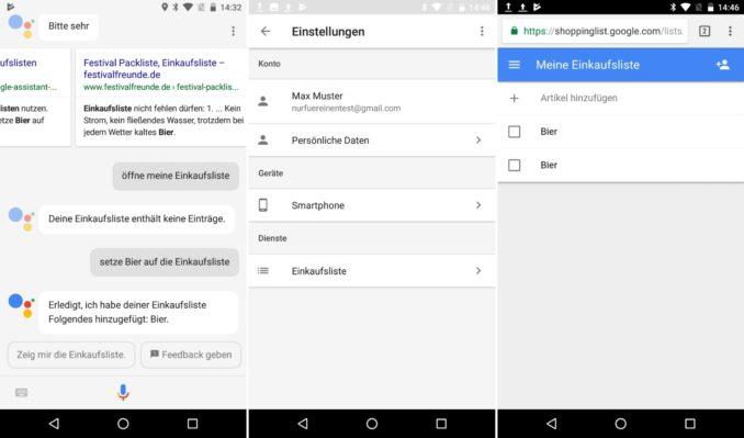 Google Assistant Einkaufsliste