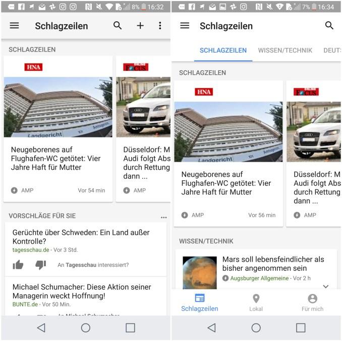 Google News und Wetter App Update Juli 2017