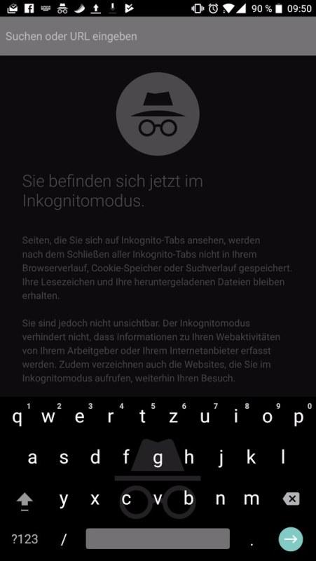Inkognito Chrome Gboard Screenshot