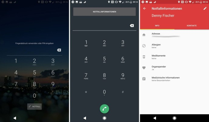 Notfallinformationen Android