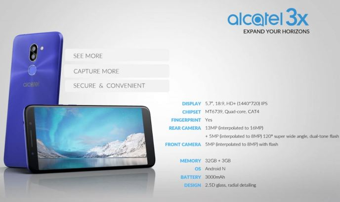 Alcatel 3X Spec