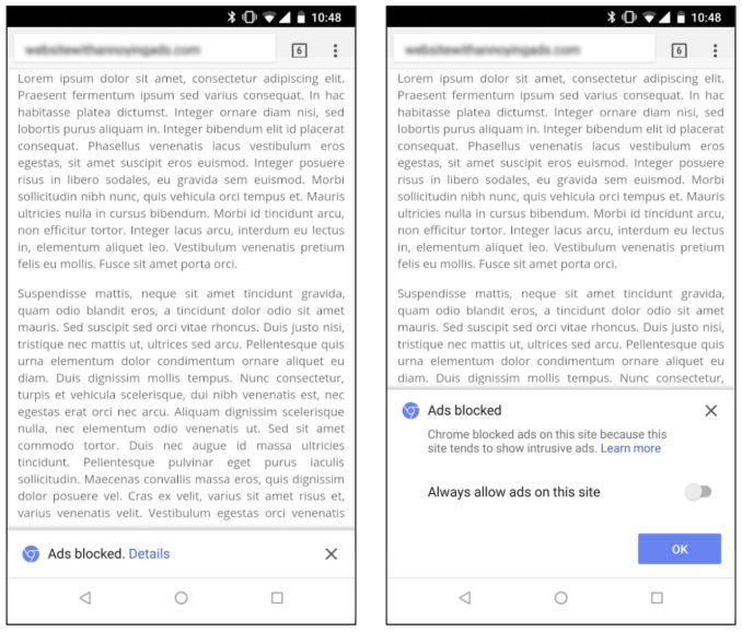 Chrome Ad-Filter Hinweis