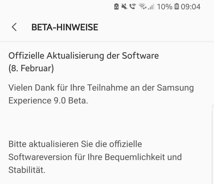 Samsung Galaxy S8 Oreo Hinweis Beta