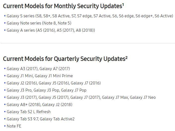 Samsung Sicherheitspatch Update Liste März 2018