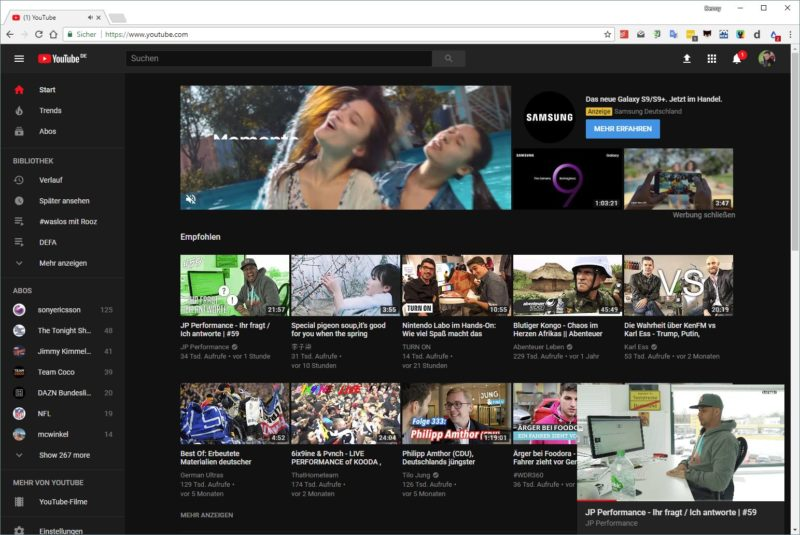YouTube Bild-in-Bild Desktop