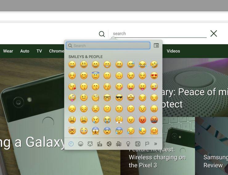 Chrome 67 Emoji Funktion Screenshot