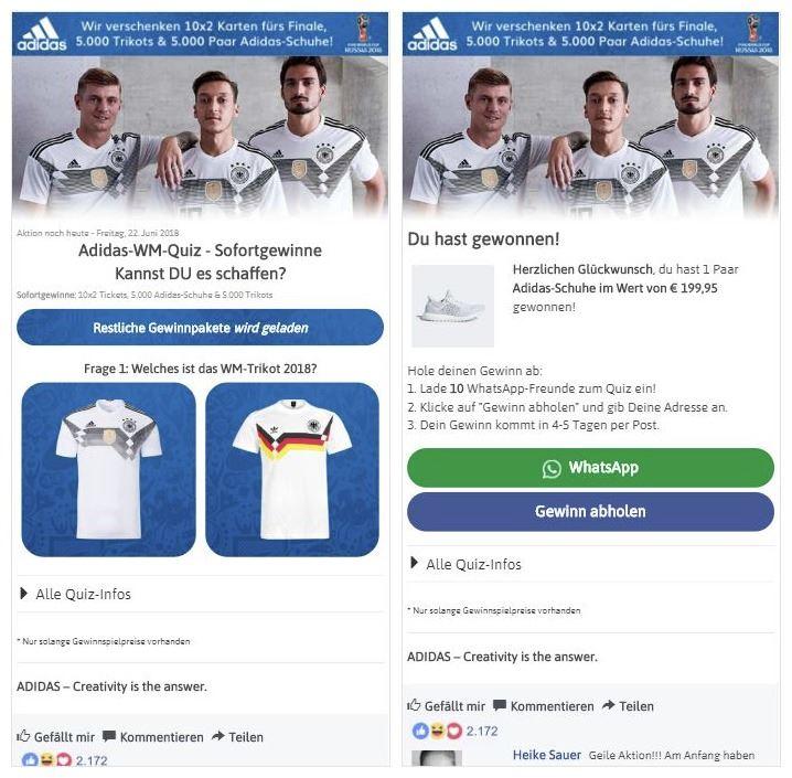 Adidas Fake Gewinnspiel WhatsApp