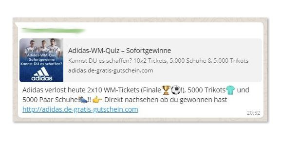 Fake: Adidas Gewinnspiel verbreitet sich über WhatsApp