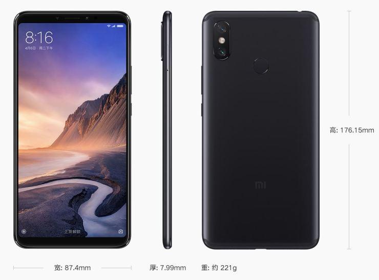 Xiaomi Mi Max 3 Maße