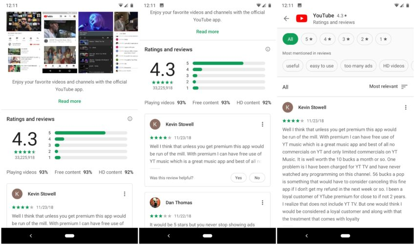 Google Play Store Redesign Rezensionen Bewertungen