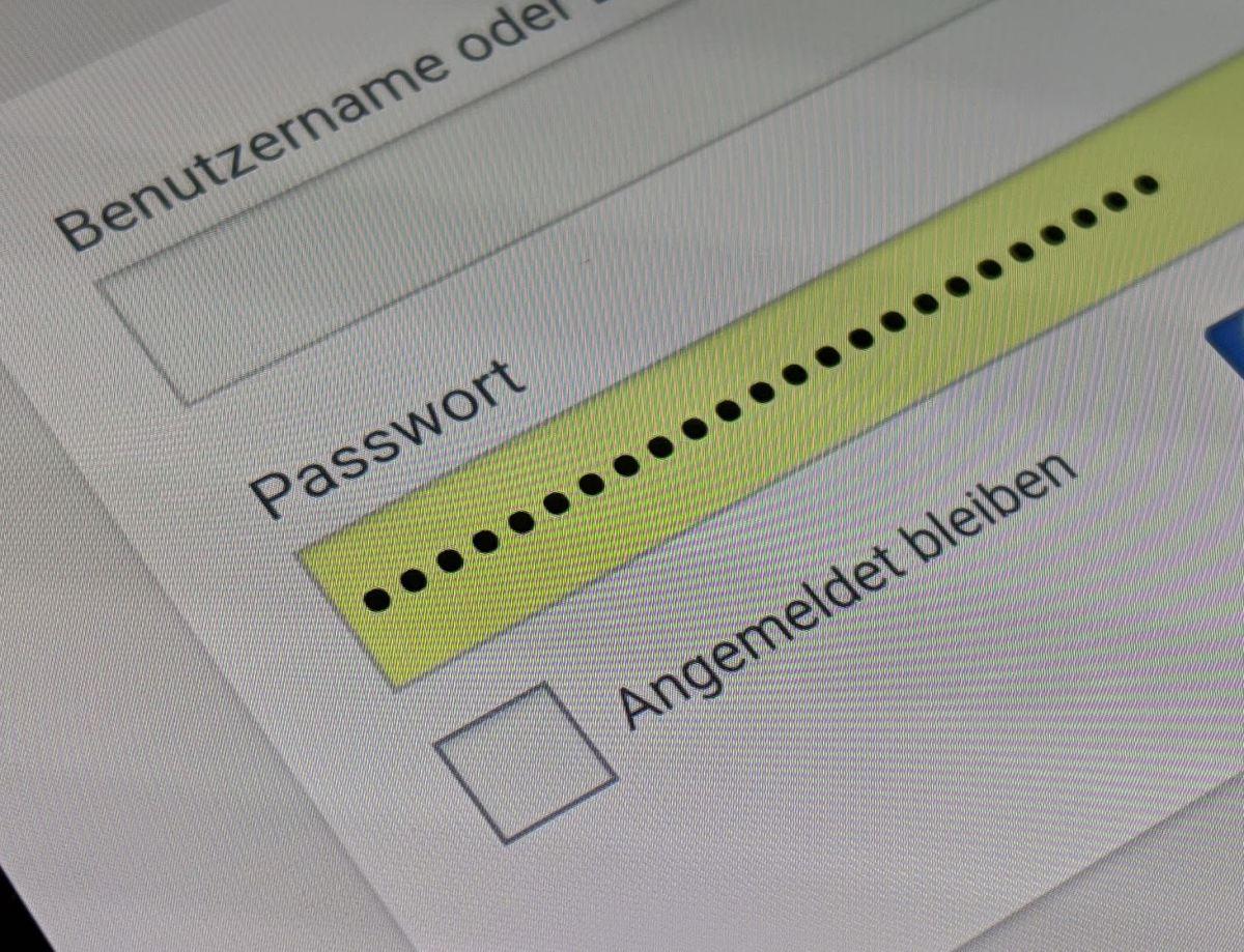 Passwort Eingabefeld Header