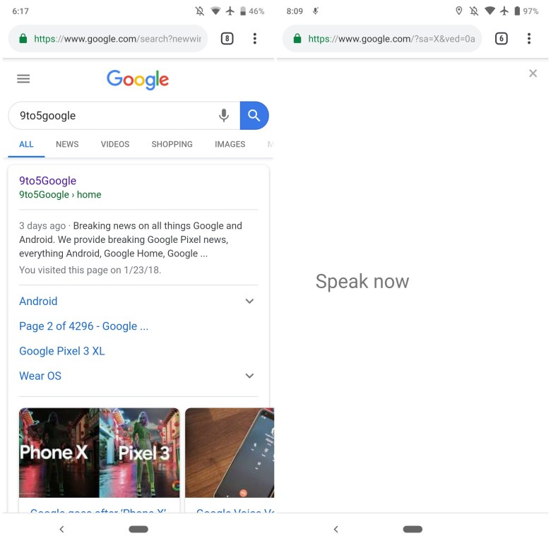 Chrome Spracheingabe Taste Google-Suche mobil