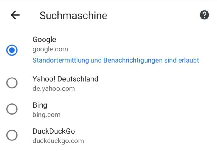 Chrome Suche DuckDuckGo