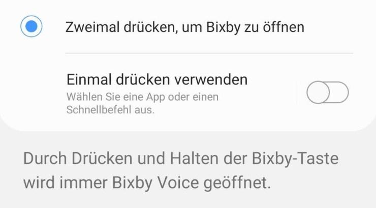 Bixby Einstellungen S10e