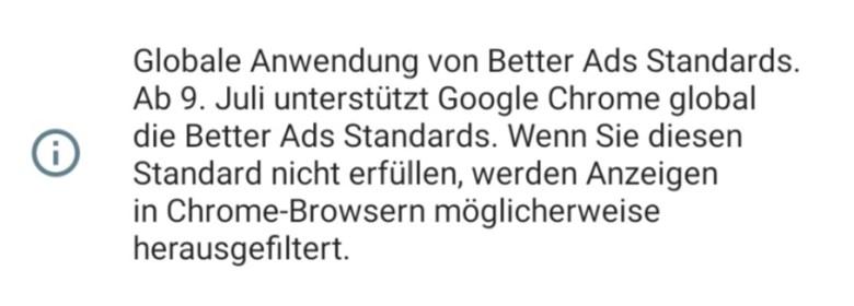 Chrome Werbefilter 9 Juli 2109 Hinweis