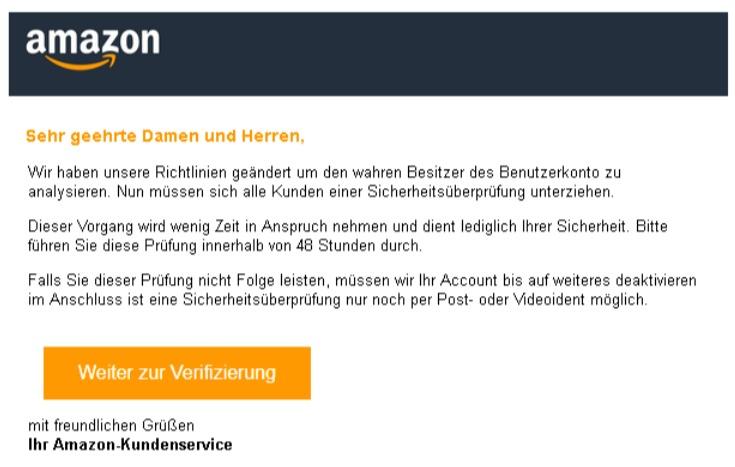 Aamzon Phishing Sicherheit