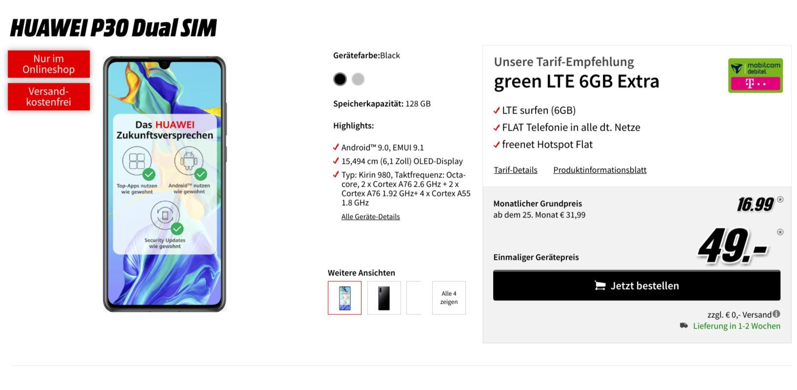 Tarif-Bundle: Huawei P30 + 6 GB Allnet-Flatrate für 16,99€