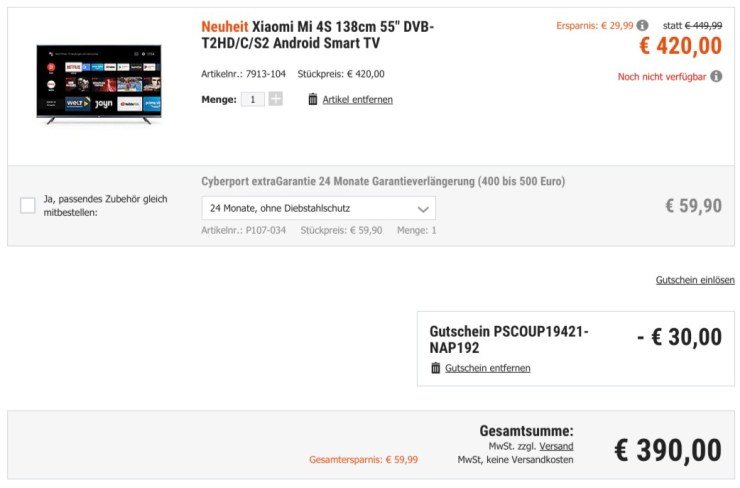 Mi 4S TV Cyberport Angebot