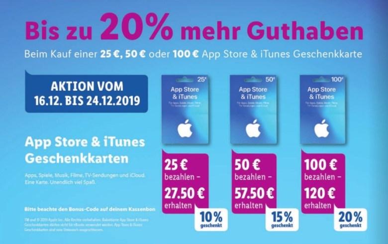 iTunes Zusatzguthaben Lidl Dezember 2019