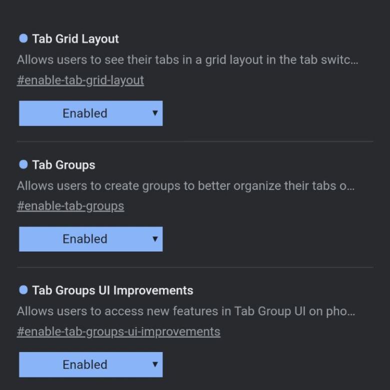Tabgruppen Chrome Experimentell