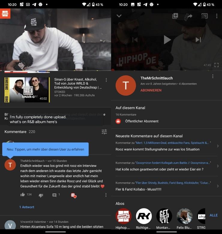 Youtube neue Kommentar Profile