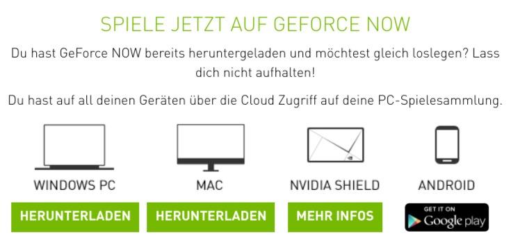 Geforce Now Plattformen