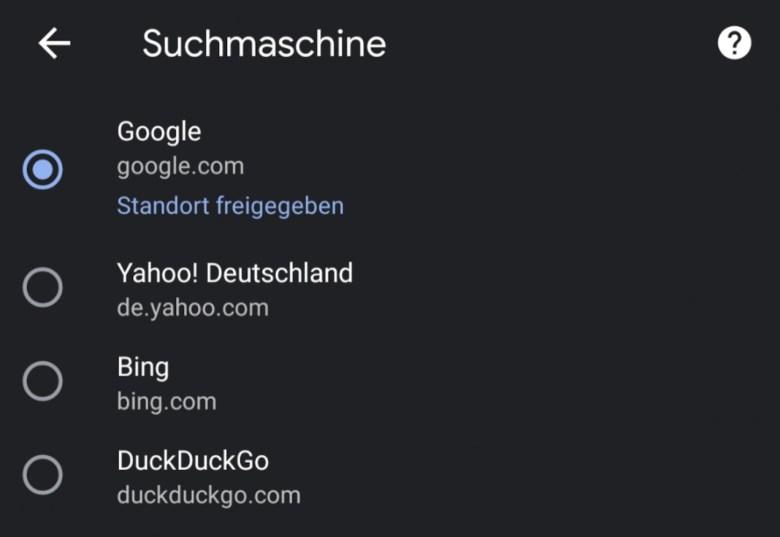 Chrome Auswahl Suchmaschine