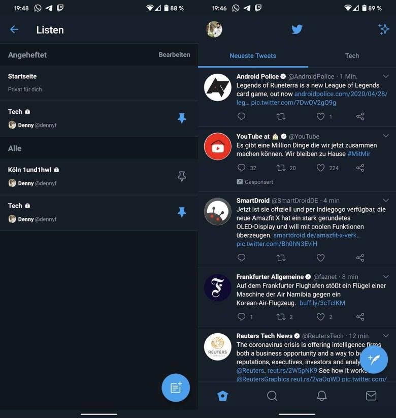 Twitter Listen Schnellzugriff