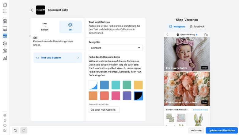 Facebook Shops Erstellung Farbpalette