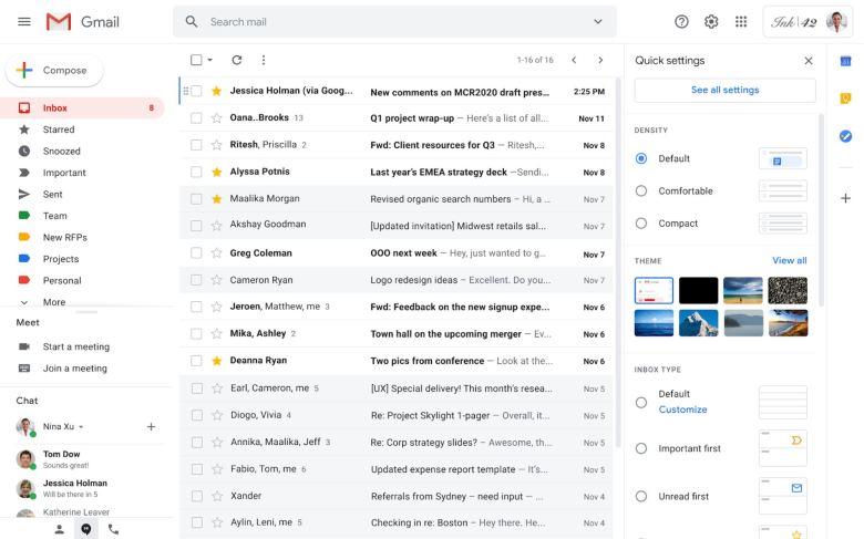 Gmail Quick Settings Screenshot