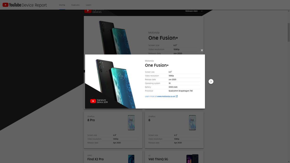 Motorola One Fusion Youtube Device Report Leak