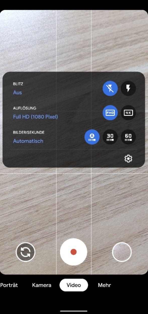 Google Kamera 7.4 Videoeinstellungen