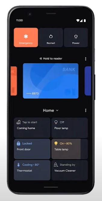 Android 11 Smarthome Steueung Einschaltmenü
